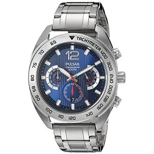 当店1年保証 パルサーPulsar Men's PT3629 Chronograph Analog Display Japanese Quartz Silver Watch|planetdream