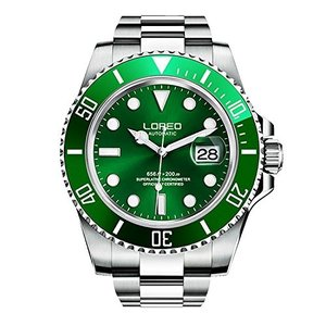 当店1年保証 ロレオLOREO Mens Automatic Watch Silver Stainless Steel Sapphire Crystal Green Rotating Bezel Analog Watches|planetdream
