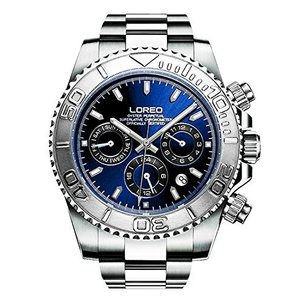 当店1年保証 ロレオLOREO Mens Automatic Machine Multifunction Silver Stainless Steel Sapphire Glass Blue Waterproof Watch|planetdream