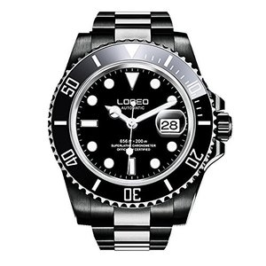 当店1年保証 ロレオLOREO Mens GMT Full Black Stainless Steel Sapphire Glass Rotating Bezel Mens Automatic Watch|planetdream