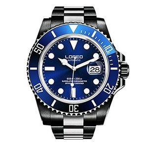 当店1年保証 ロレオLOREO Mens GMT Full Black Stainless Steel Sapphire Glass Blue Rotating bezel Mens Automatic Watch|planetdream