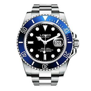 当店1年保証 ロレオLOREO Mens GMT Silver Stainless Steel Sapphire Blue Rotating bezel Black dial Automatic Watch|planetdream