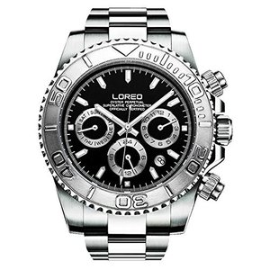 当店1年保証 ロレオLOREO Mens Automatic Machine Multifunction Silver Stainless Steel Sapphire Glass Black Waterproof Watc|planetdream