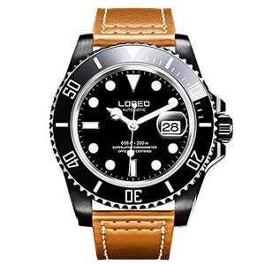 当店1年保証 ロレオLOREO Mens GMT Rotating bezel Black Stainless Steel Sapphire Glass Automatic Leather band Watch|planetdream