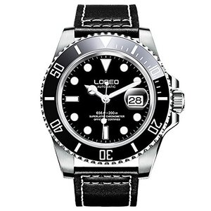 当店1年保証 ロレオLOREO Mens GMT Rotating bezel Silver Stainless Steel Case Sapphire Automatic Black Leather Watch|planetdream
