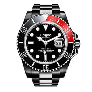 当店1年保証 ロレオLOREO Mens GMT Full Black Stainless Steel Sapphire Black And Red Rotating bezel Automatic Watch|planetdream