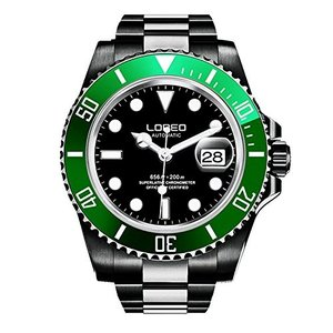 当店1年保証 ロレオLOREO Mens GMT Silver Stainless Steel Sapphire Green Rotating bezel Black dial Automatic Watch|planetdream