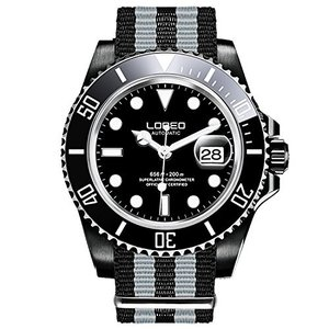 当店1年保証 ロレオLOREO Mens GMT Black Stainless Steel Sapphire Black Rotating Bezel Mens Nylon Automatic Watch|planetdream