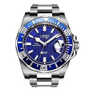 当店1年保証 ロレオLOREO Mens GMT Silver Stainless Steel Sapphire Glass Blue Rotating bezel Blue dial Automatic Watches|planetdream
