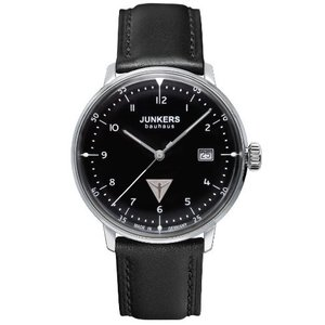 当店1年保証 ユンカースJunkers 60462 Men's Quartz Battery Watch with Black Dial Analogue Display and Black Leather Stra|planetdream