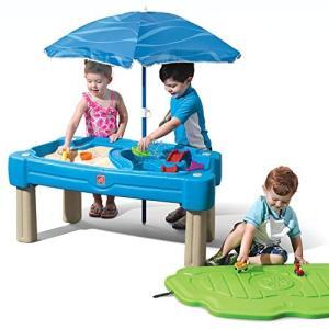 プールStep2 Cascading Cove Sand & Water Table with Umbrella | Kids Sand & Water Play Table with Umbrella | 6-pc Accessory Set I|planetdream