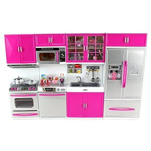 1/6ドールDoll Playsets My Modern Kitchen 32 Full Deluxe Kit with Lights and Sounds, 21 x 13.8 x 4 -Inches|planetdream
