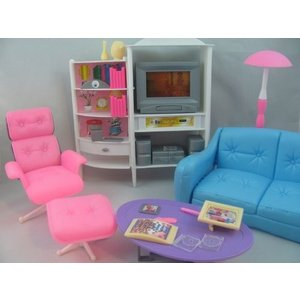 1/6ドールGloria Dollhouse Furniture - Family Room TV Couch Ottoman Playset|planetdream