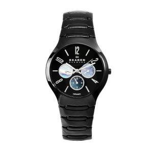 当店1年保証 スカーゲンSkagen Men's 817SXBC1 Ceramic Black Day and Date 24-Hour Watch|planetdream