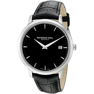 当店1年保証 レイモンドウィルRaymond Weil Men's Toccata Stainless Steel Swiss-Quartz Watch with Leather Strap, Black|planetdream