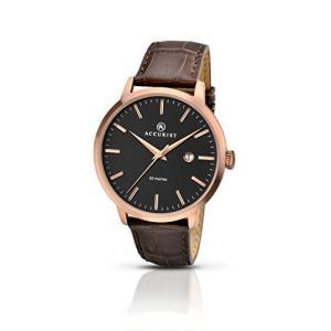 当店1年保証 アキュリストAccurist Men's Quartz Watch Black Dial Brown Leather Strap 7046|planetdream