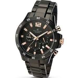 当店1年保証 アキュリストAccurist Mens Black Dial Black Strap Chronograph Watch 7052|planetdream