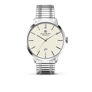 当店1年保証 アキュリストAccurist Mens Quartz Cream Dial Expanding Bracelet Watch 7134|planetdream