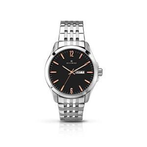 当店1年保証 アキュリストAccurist Mens Black Dial Stainless Steel Bracelet Watch With Rose Gold Hour Markers and Day/D|planetdream