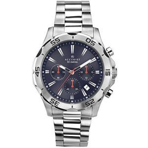 当店1年保証 アキュリストAccurist Gents Blue Dial Analogue Chronograph Watch with Silver Stainless Steel Bracelet 7024|planetdream