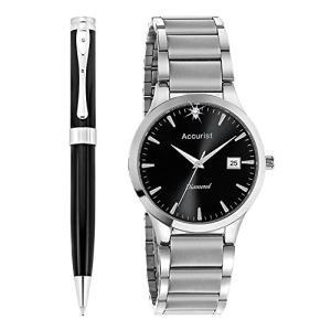 当店1年保証 アキュリストAccurist Gents Watch & Pen Gift Set MB1066B|planetdream