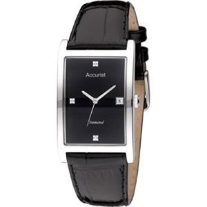 当店1年保証 アキュリストAccurist MS890DIA Mens Silver Black Diamond Watch|planetdream