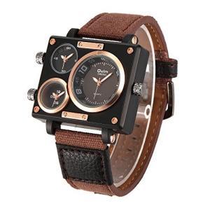即納  【当店1年保証】スチームパンク メンズ腕時計 マルチタイムゾーン スクエア ブラウン ケース48mm|planetdream