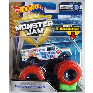 ホットウィールHot Wheels Monster Jam 2018 Clear Crushers Ice Cream Man (Includes Re-Crushable Car) 1:64 Scale|planetdream