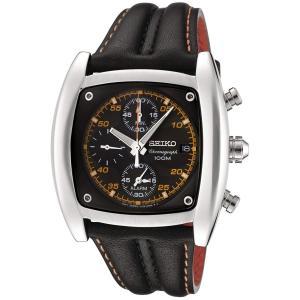 当店1年保証 セイコーSeiko Men's SNAB05 Chronograph Black Dial Black Leather Alarm Watch|planetdream