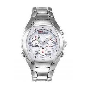当店1年保証 タイメックスTimex 5B201Men's Silver-Tone Full Functioning Chronograph Watch with Quick Date and Indiglo N planetdream