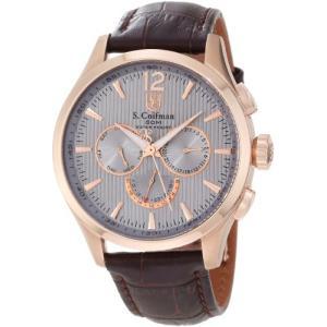 当店1年保証 S.Coifman(コイフマン)S. Coifman Men's SC0125 Grey Textured Dial Brown Leather Watch|planetdream