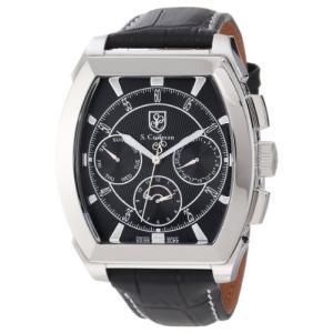 当店1年保証 S.Coifman(コイフマン)S. Coifman Men's SC0086 Black Textured Dial Black Leather Watch|planetdream