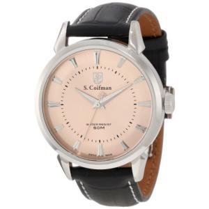 当店1年保証 S.Coifman(コイフマン)S. Coifman Men's SC0283 Gold Tone Textured Dial Black Leather Watch|planetdream