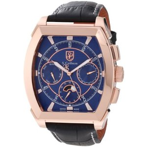 当店1年保証 S.Coifman(コイフマン)S. Coifman Men's SC0091 Blue Textured Dial Black Leather Watch|planetdream
