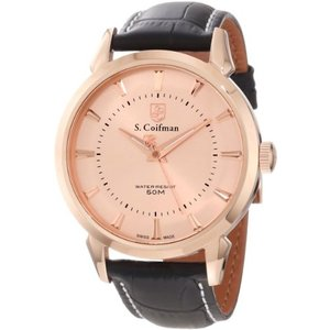 当店1年保証 S.Coifman(コイフマン)S. Coifman Men's SC0288 Light Rose Gold Tone Dial Black Leather Watch|planetdream