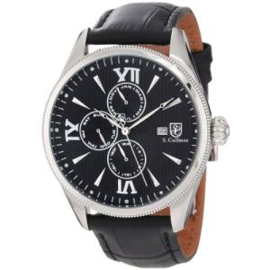 当店1年保証 S.Coifman(コイフマン)S. Coifman Men's SC0168 Black Textured Dial Black Leather Watch|planetdream