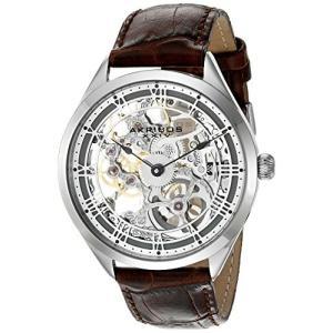 当店1年保証 アクリボスXXIVAkribos XXIV Men's AK802GY Mechanical Movement Watch with Silver and See Thru Dial and Brown|planetdream