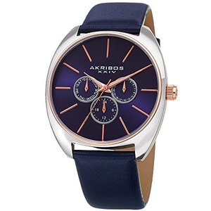 当店1年保証 アクリボスXXIVAkribos XXIV Men's Leather Watch ? Blue Casual Designer Wristwatch with Multifunction Ch|planetdream