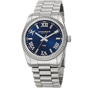当店1年保証 アクリボスXXIVAkribos XXIV Men's AK1034SSBU Italian Desgined Blue & Silver Stainless Steel Bracelet Watch|planetdream