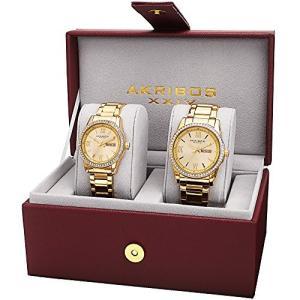 当店1年保証 アクリボスXXIVAkribos XXIV Men's and Women's  Watch Matching Set - His and Her and Crystal Filled Watch Ro|planetdream