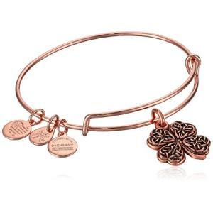 アレックスアンドアニAlex and Ani Women's Four Leaf Clover Rose Gold Charm Bangle Bracelet, Expandable|planetdream