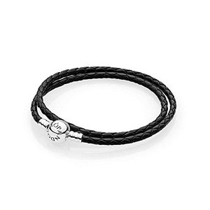 パンドラPANDORA Jewelry - Black Leather Charm Bracelet for Women with Sterling Silver, 13.8 in / 35 cm|planetdream