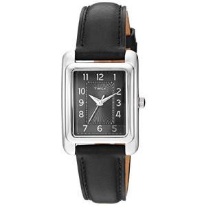 当店1年保証 タイメックスTimex Women's TW2R89700 Meriden Black/Silver-Tone Leather Strap Watch planetdream