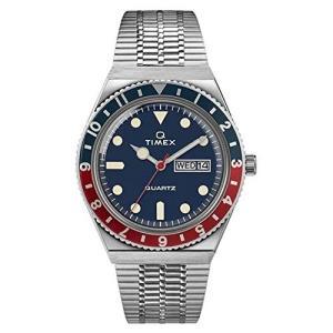 当店1年保証 タイメックスTimex Men's Q Reissue 38mm Stainless Steel Bracelet Watch, Stainless Steel/Blue (TW2T80700), planetdream