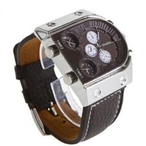 【即納・送料無料】【当店1年保証】スチームパンク メンズ腕時計 U型ダイヤル ダークブラウン 3タイムゾーン レザーバンド|planetdream