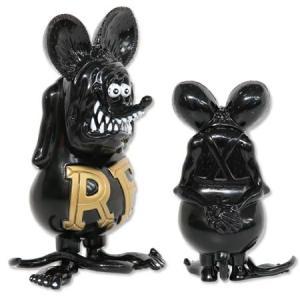 ラットフィンク フィギュア ソフビ ソフトビニール キャラクター アメリカ ホットロッド アメリカン雑貨 Vinyl Doll RatFink ブラックXゴールド|planfirst