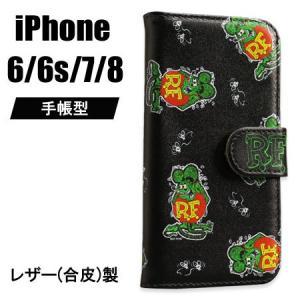 ラットフィンク iPhone ケース 手帳型 iPhone7/6/6s カバー ジャケット キャラクター アメリカ ホットロッド RAT FINK グリーン メール便OK_SA-RAF485GR-MON planfirst