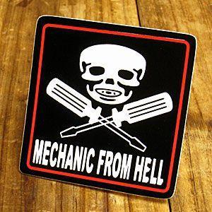 ステッカー 車 アメリカン スカル おしゃれ バイク ヘルメット かっこいい MECHANIC FROM HELL メール便OK_SC-243-GEN|planfirst