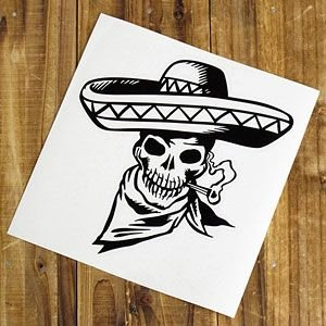 ステッカー 車 スカル アメリカン おしゃれ バイク かっこいい 転写 メキシカン ブラック メール便OK_SC-SK006BK-TST|planfirst