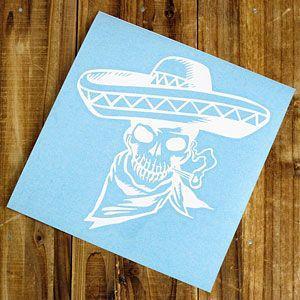 ステッカー 車 スカル アメリカン おしゃれ バイク かっこいい 転写 メキシカン ホワイト メール便OK_SC-SK006WH-TST|planfirst